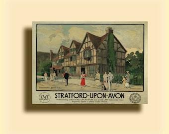 Stratford-Upon-Avon Warwick Goble 1923 - Vintage Railway Travel Poster SG4768