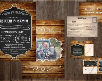 Rustic Country Wedding Invitations | Info Card | RSVP