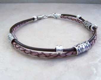 Pink and Brown, Leather Anklet, Beads on Leather, or Leather Bracelet  Ankle Bracelet, Sizes 6 to 12 inchs