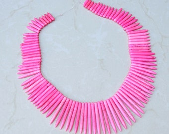 Hot Pink Turquoise Graduated Points Spikes -17 inch Strand. - 5mm X 20mm - 5mm x 50mm Long