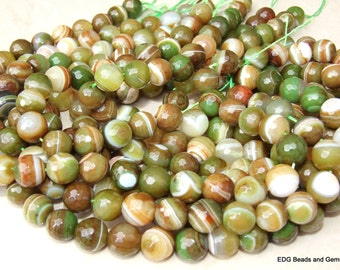 Green Agate Beads -Agate Faceted Beads - 12mm - 15 inch Strand