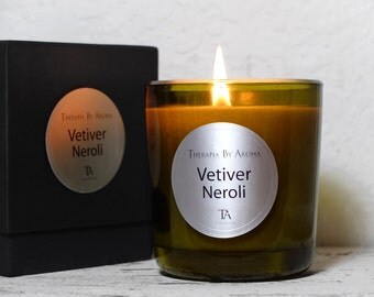 Vetiver Neroli Candle with Essential Oils, Aromatherapy - Natural candle - Hand made
