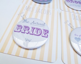 Wedding pin badge, place names, favours