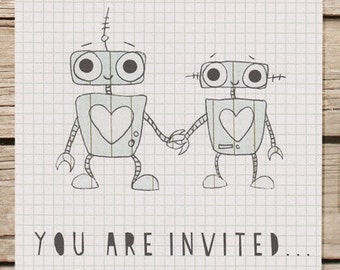 Robot themed alternative wedding invitation