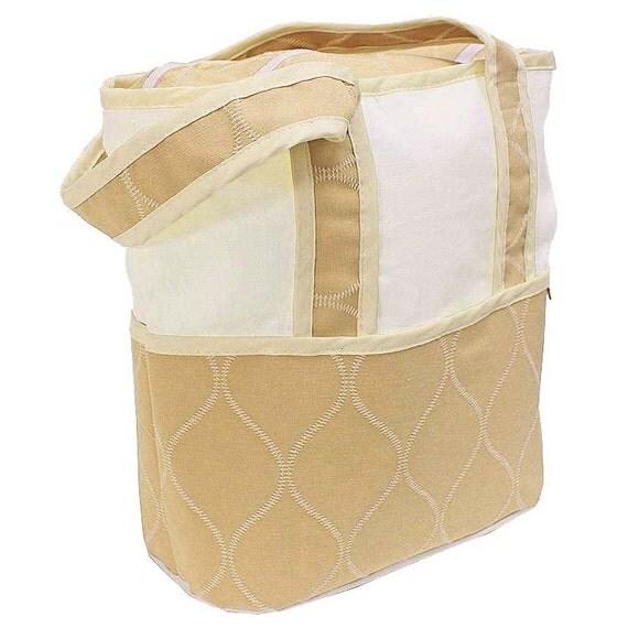 monogrammed tote diaper bag ecru. Black Bedroom Furniture Sets. Home Design Ideas