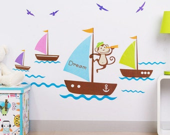 Boats & Monkey - AW7043, Childrens wall sticker, boys room wall sticker, wall decal, kids room wall sticker, boat wall decal, sailing boat