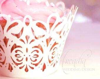 Mini Cupcake Wrapper Damask Lace Silhouette Decor, 10pcs, for Birthday / Celebration Party / Bridal shower Cupcake decoration