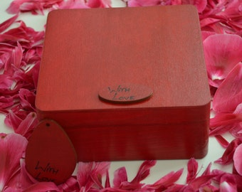 Lovely wooden box for your treasures with tag With Love 6.29 x 6.29 x 2.75inch(16x16x7cm)