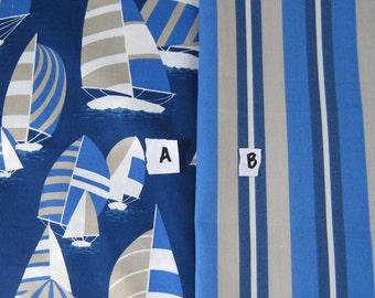 Blue Sailboat  Pillow Cover Outdoor Nautical Ocean  Stripe Designer Fabric Patio Porch Coastal Home Decor Throw Pillow
