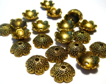 20pcs Antique Gold Acorn Tops Bead caps