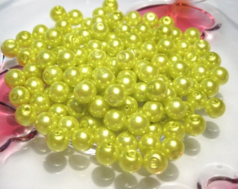 100pcs Glass Pearl Beads Lime Green, 6mm Round