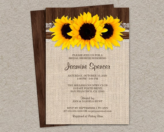 Rustic Country Sunflower Bridal Shower Invitations DIY – Diy Country Wedding Invitations