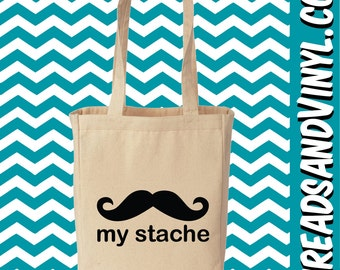 My Stache Mustache Canvas Totes Bags Purses Collection
