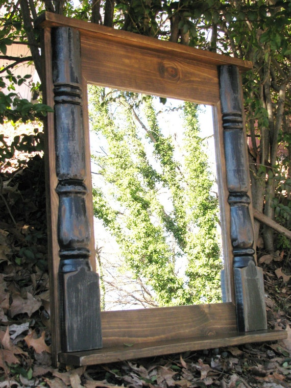 Rustic Foyer Mirror : Rustic mirror foyer entry wall by
