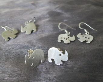 Sterling Silver Baby  Rhino Earring