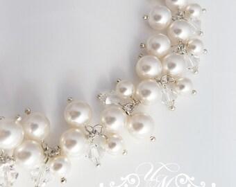 Wedding Jewelry Cluster Pearl Bracelet Messy style Swarovski Pearl Swarovski crystal Bracelet Bridal Bracelet Bridesmaids Bracelet - GRACE