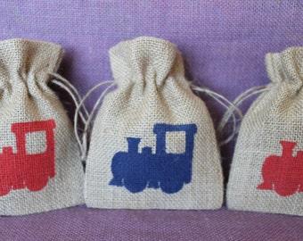 Train burlap party favor bag. Custom birthday train favor bag. Sower, birthday party.Burlap mini Sack.  Burlap train Bag