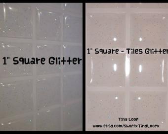 """30 Clear Glitter Epoxy Stickers 1"""" Square"""