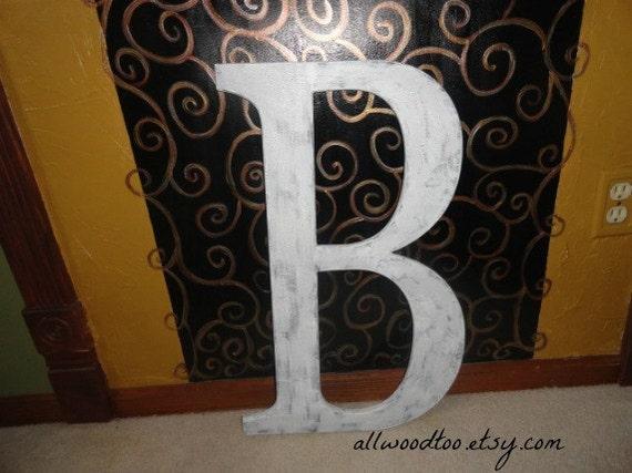 Wedding guest book alternative large wood letters monogram for Big wooden letter b