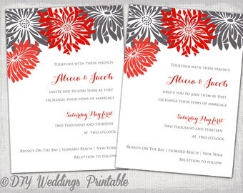 "Wedding invitation template Red & charcoal gray Gerber daisy wedding invitations DIY ""Flower Burst"" digital printable YOU EDIT download"