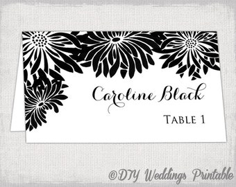"""Place card template black and white Gerber Daisy DIY wedding name cards """"Flower Burst"""" black place card templates instant download"""