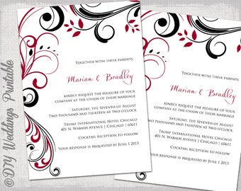 Printable red and black wedding invitations