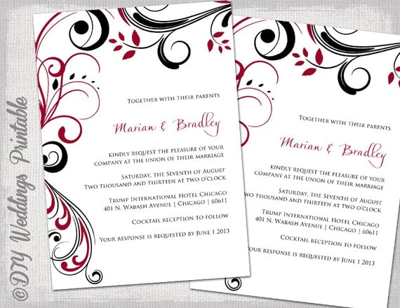 Red And Black Wedding Invitations Templates