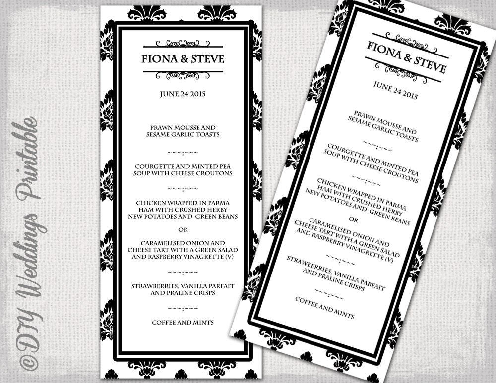 French Menu Template Wedding Menu Template Black