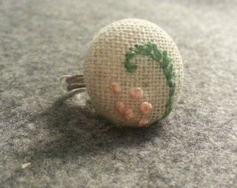 Embroidered Muslin Button Ring