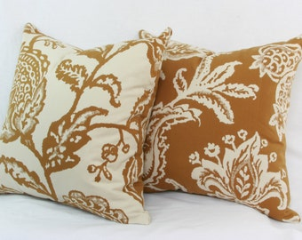 "Tan & ivory floral reversible  throw pillow cover. 18"" x 18"". 20"" x 20"". 22"" x 22"". 24"" x 24"".26"" x 26"". lumbar sizes. Accent pillow."
