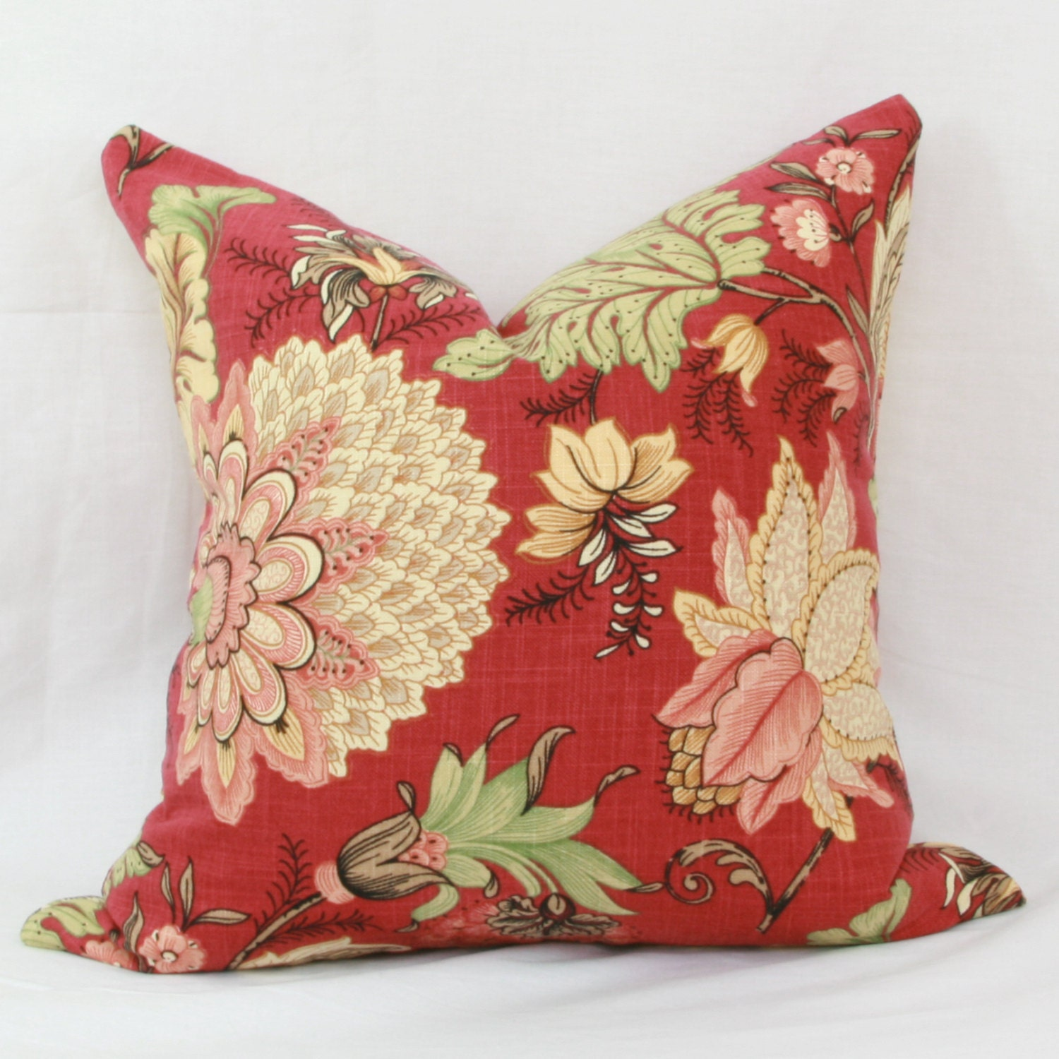 Decorative Floral Pillow Covers : Red green & yellow floral decorative throw pillow cover.