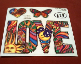 """LOVE Heart Butterfly Hippie Decal STICKER 6""""x5 3/8"""" new old stock"""