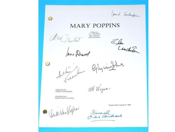 mary poppins signed movie script screenplay autographed julie