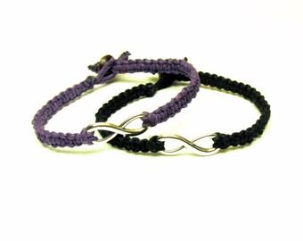 Bracelets for Couples, Set of Two Infinity Charm Bracelets, Purple and Black Macrame Hemp Jewelry