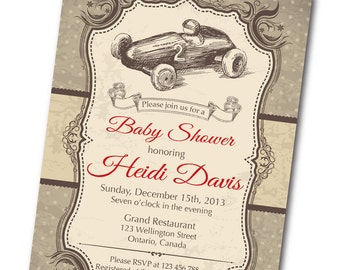 Vintage Race Car Baby Shower Invitation. Retro Baby Boy Shower Invite. Formula one racing. Any custom color. DIY digital printable.
