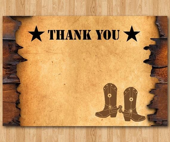 Western Thank You Note. Cowboy Theme Thank You Card. Boy Or