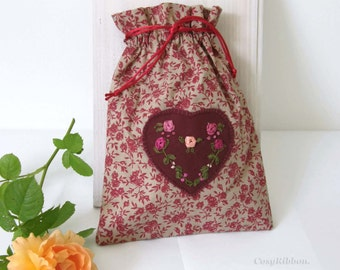 Drawstring bag, silk drawstring bag , dark red  drawstring pouch , cotton bag, gift bag, wedding favor bag, linen bag, storage bag