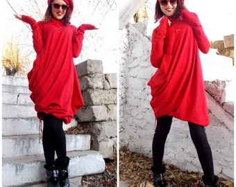 Oversize Red Loose  Top / Asymmetric Extravagant  Long Sleeves Tunic/ Asymmetric  Dress TDK05