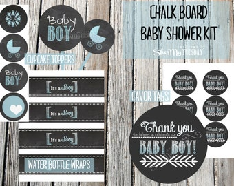 Chalkboard Baby Shower Kit - BOY - Water Bottle Labels - Cupcake Toppers - Favor/ Thank You Tags - Blue
