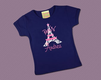 Girls Eiffel Tower Paris Shirt with Embroidered Name