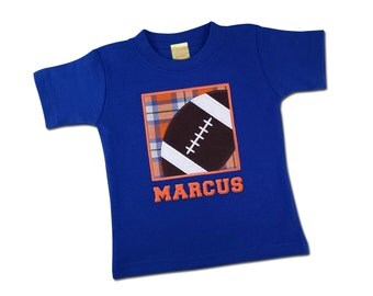 Boy's Orange and Blue Football Box Shirt with Embroidered Name