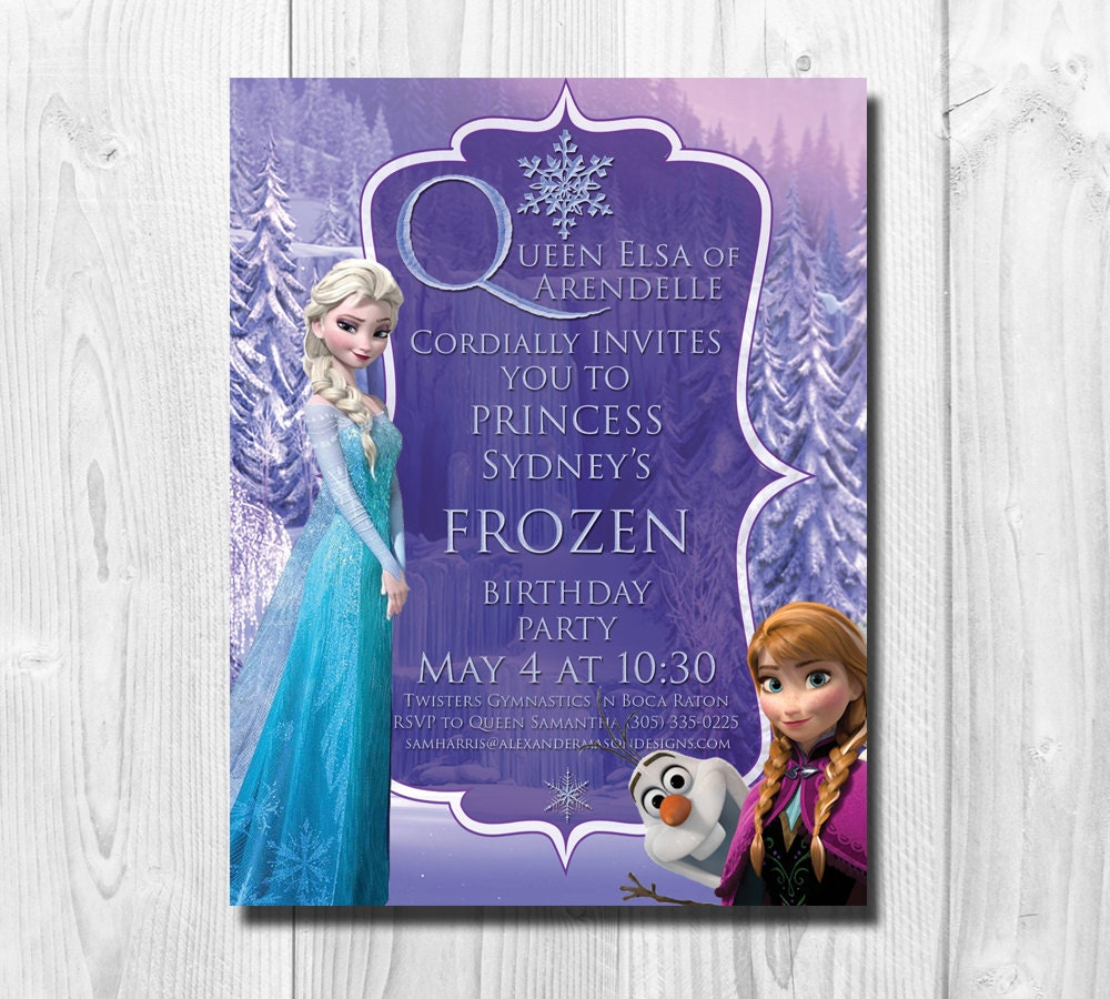 Frozen Birthday Invitation Queen Elsa Princess Anna Olaf