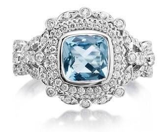 Aquamarine Engagement Ring 1.33ct Aquamarine .64ct Diamonds Vintage Wedding Engagement Ring Wedding Ring 18k gold Pristine Custom rings