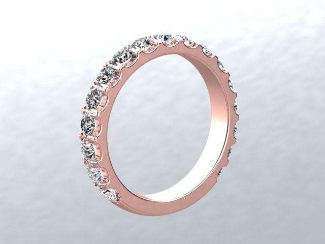 White Sapphire Wedding Band 14kt ROSE GOLD Wedding Band 25mm