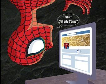 Spider-man's on Facebook 8x8 print