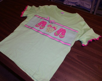 Ladies Lime T-Shirt  by L.A.T.(La-Ta-Da) with Three Lime & Hot Pink Polka Dot Flip Flops  Appliqué by Emanuel's Wearable Art