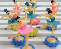 Cupcake Ballerina Cake Toppers, 12 Mini Ballet Dancer Cupcake Picks with Rosette Bases, Vintage Ballerinas