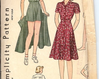 Simplicity 3290  Sewing Pattern   1940's Girls Three Piece Playsuit.  ID567