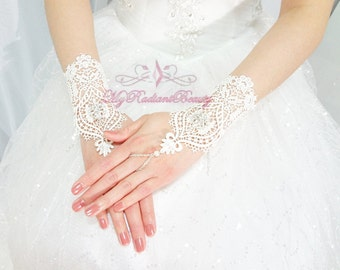 Wedding Gloves, Bridal Gloves, Fingerless Gloves, Lace Gloves, Ivory High Fashion Rhinestone Button Short Gloves, Bridal Accessories BG0021