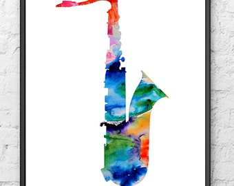 Watercolor Saxophone Art Print, Music Art, Watercolor Painting, Jazz Art, Watercolor Art, Home Decor, Wall Decor - 191